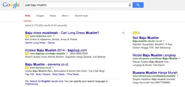 Contoh Iklan PPC Google AdWords
