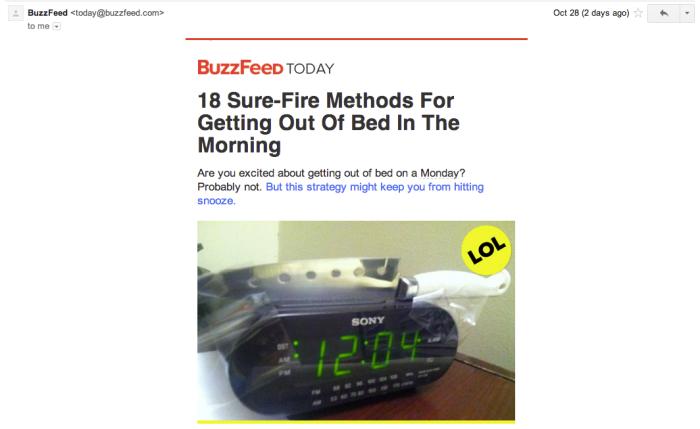 Contoh email yang dikirim oleh Buzzfeed. Membuat kita mau klik!