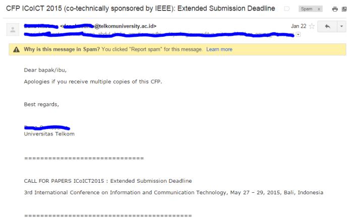 Yang seperti ini juga termasuk email spam, karena saya tidak pernah memberikan email saya ke Telkom University.