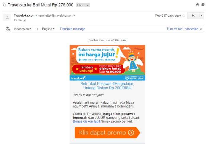 Email newsletter dari Traveloka. Udah harga murah, banyak promonya!