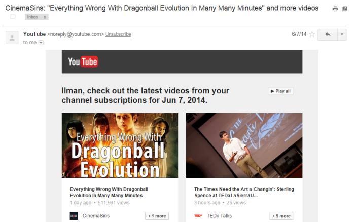 Email dari YouTube